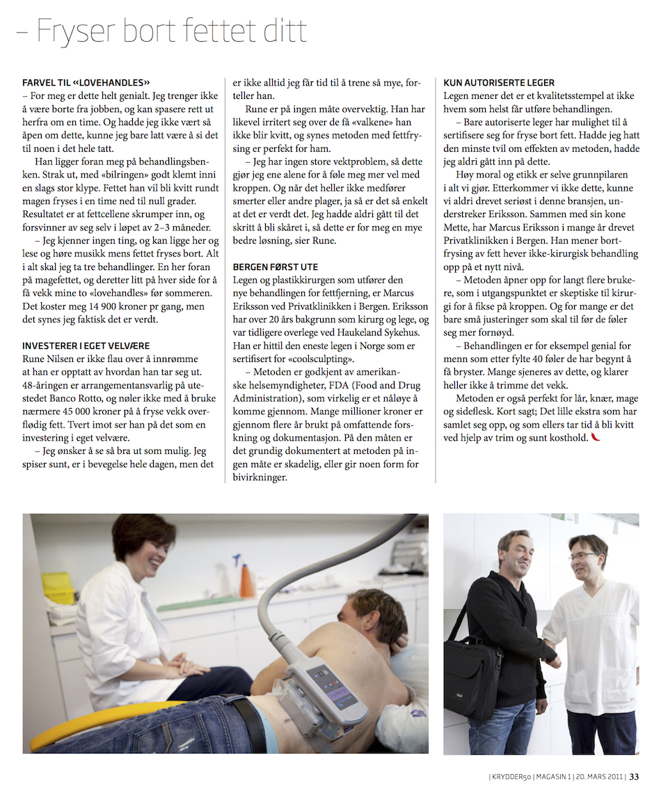 CoolSculpting behandlingsreportasje (Privatklinikken, Dr. Marcus Eriksson)